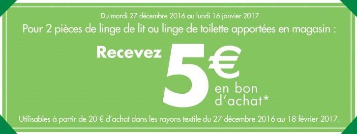 Vieux draps contre bons d'achats Carrefour
