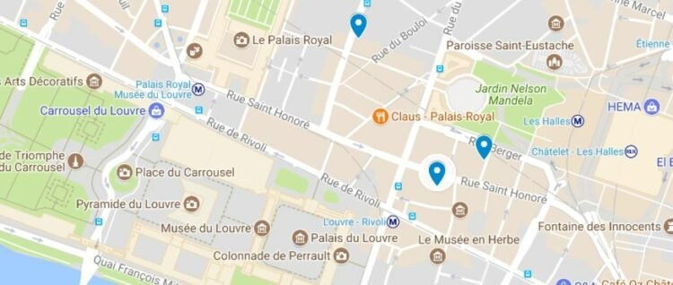 Plan Paris pharmacie St honore