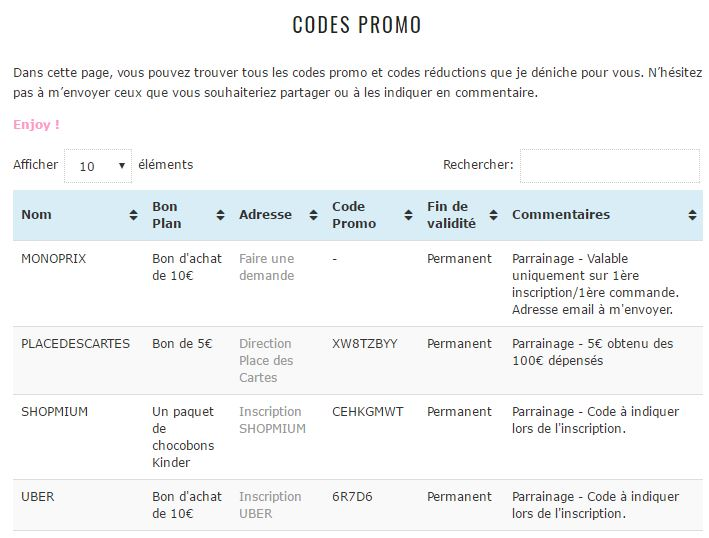Page code promo