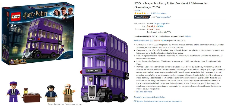 bon plan jouet magicobus harry potter lego 2